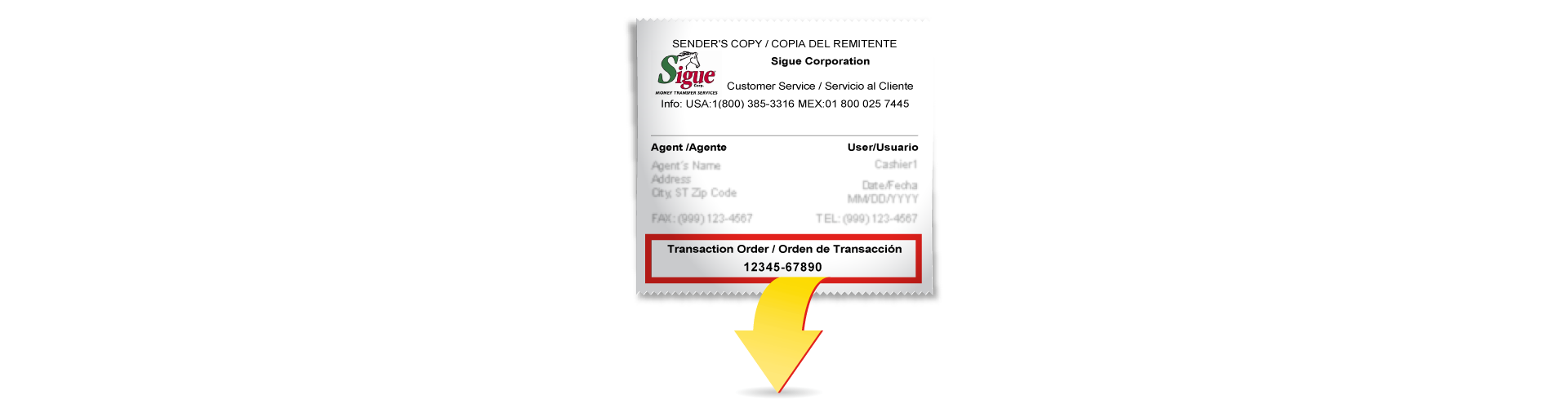 Sigue - Transaction order number